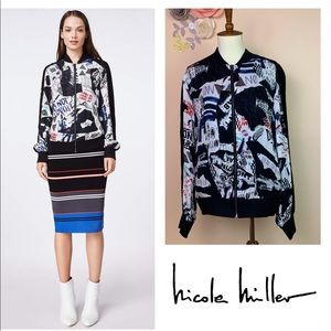 New! NICOLE MILLER Artelier Collage Bomber Jacket